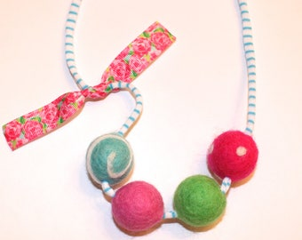 Colorful Flowers Felted Wool Ball Necklace