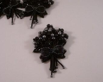 Black Beaded Bouquet Design Pin/Applique--One Piece