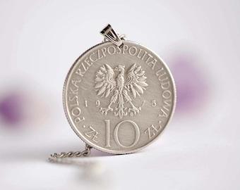 Poland Coin Necklace. 10 Złotych, 1975. Eagle