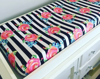 Black and white stripe changing pad cover | roses changing pad | fitted crib sheet | nursery bedding |