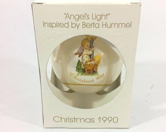 Vintage Glass Christmas Ornament Schmid Bertha Hummel Collection Angel's Light 1990's