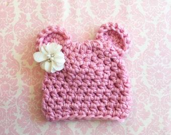 Pink bear hat/ Newborn hat/ Bear hat / baby girl hat