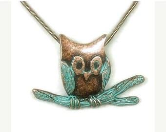 Sale| Verdigris Patina Owl Necklace, Stamped Copper Patina Owl on Branch Pendant, Rustic, Art Deco, Necklace Set, Woodland, Nature