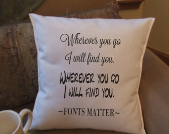 fonts matter pillow cover, funny pillow cover