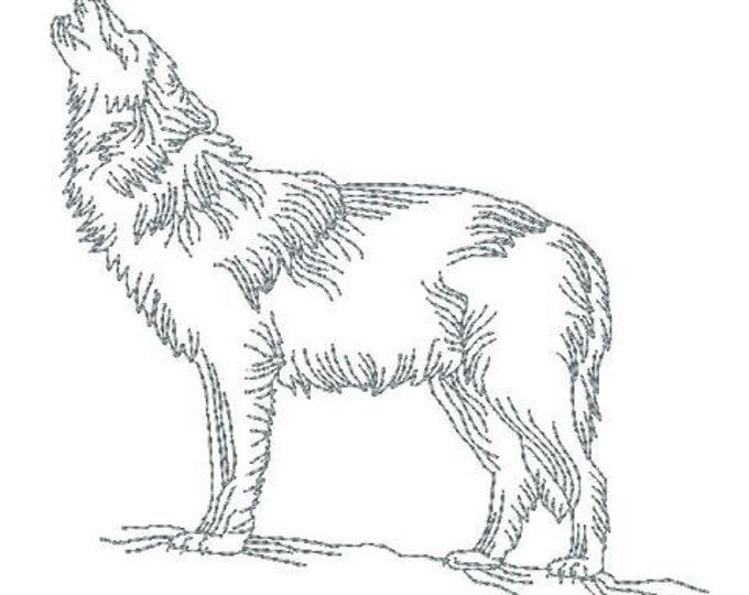 Redwork Realistic Wolves  ( 12 Machine Embroidery Designs from ATW )