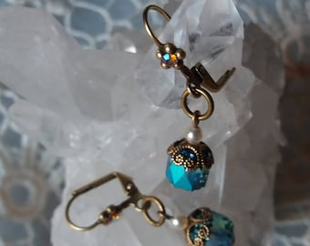 OLD CENTURY. Earrings with medieval and Renaissance touches of brass, Pearl and swarovski crystal account.