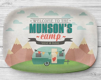 Personalized Melamine Camping Platter, Personalized Camper Serving Platter, Glamping, Personalized Serving Tray, RV Camper Decor