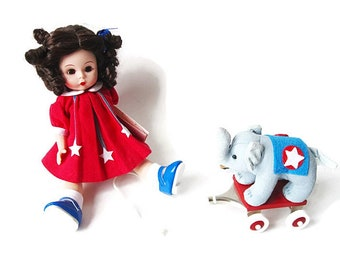 """Madame Alexander 8"""" Doll/ Campaign Trail Wendy/ Patriotic American Doll with Elephant/ Mint Condition Republican Mascot"""