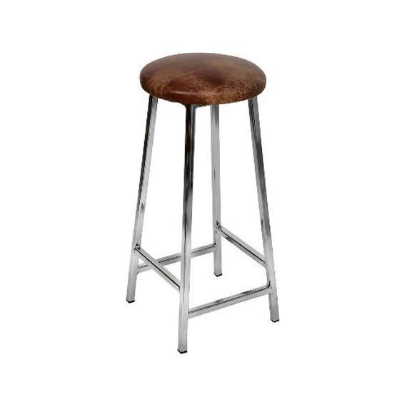 Bertie N Tanner niquelado Bar taburete con asiento de cuero