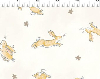 Clothworks Guess How Much I Love You Bunny Scatter Cream (Half metre)