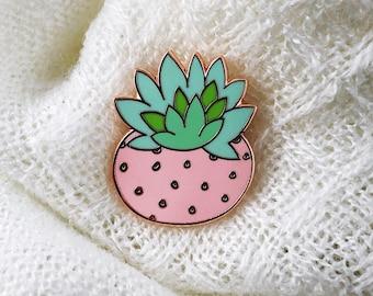 Cactus Succulent Strawberry Pin