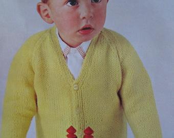 1960's Vintage Knit Pattern PDF Children's Cardigan Sweater 6327