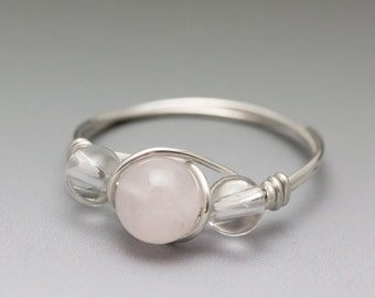 Rose Quartz & Clear Crystal Quartz Silver Wire Wrapped Bead Ring - Made to Order, Ships Fast!