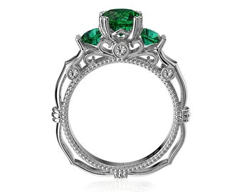 Italian Renaissance Emerald Diamond Engagement Ring in 14K Solid Gold G1203-14KWGDEM