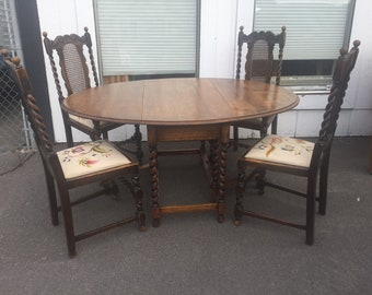 SUMMER SIZZLER SALE   Antique English Tiger Oak Gateleg Barley Twist Drop  Leaf Dining Table With 4 Embroidered Seat Barley Twist Chairs