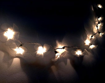 20 Battery Powered LED Handmade White flower string lights  for party and decoration