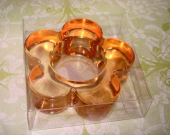 SALE: Orange Daisy Acrylic Tea Light Candle Holder, Tea Lights, Candle Holder, Acrylic Holder, Spa Light, Candle Light, Tea Light Design