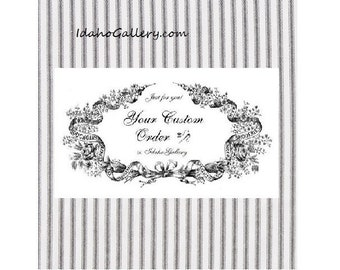 """Custom Listing for Janice Farmhouse Fresh White with Black Ticking Country Curtain Valance Primitive Curtain Country Curtain 11"""" L x 43.5"""" W"""