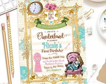 ALICE IN ONEDERLAND Invitation, Alice in Wonderland Invitation, Free Thank You Card, Alice in Wonderland, 1st Birthday Invitation,Alice Card