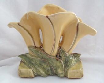 Vintage McCoy Art Pottery Triple Lily Flower Yellow Vase
