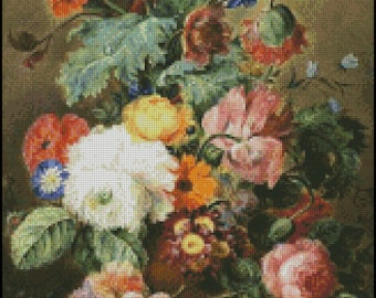 Vase Of Flowers cross stitch pattern No.616