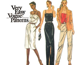 80s Jacket, Camisole Top, Evening Dress Pattern Vogue 7623 Misses Bust 36 Vintage Sewing Pattern for Women