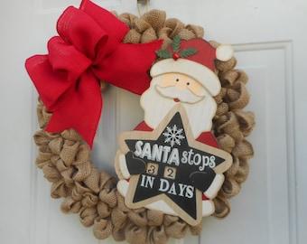 Christmas wreath Holiday wreath Christmas burlap wreath Holiday burlap wreath Santa wreath Santa Claus wreath Calendar wreath  Ready to ship