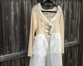 Altered Women's Lace Tunic, Flower Embellished Magnolia Pearl Style- Small, Lace Jacket, Shabby Chic, Romantic Top, White & Tan Lace