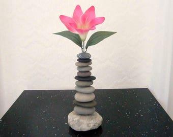 Interchangeable Beach Pebble/Rock Bud Vase, Natural Beach Pebbles And Rocks