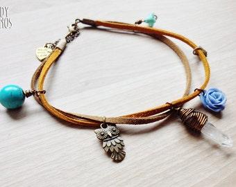 Clear Quartz Owl Anklet. Healing Bracelet Turquoise Stone Flowers Jewelry Boho ankle bracelet. Raw Quartz Charm Bracelet Whimsy Woodland