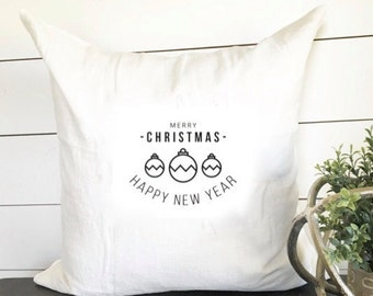 Merry Christmas & Happy New Year Pillow Cover 18 x 18 // Christmas / Christmas Pillow / Holiday / Throw Pillow / Accent Pillow / Gift