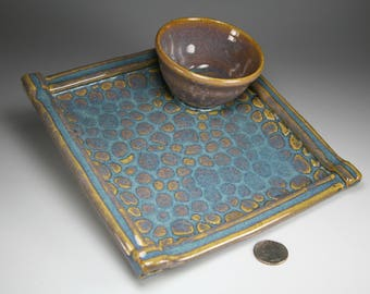 Ready to ship sushi plate, shrimp cocktail plate, personal size chip and dip plate in blue glaze, item #sushi85