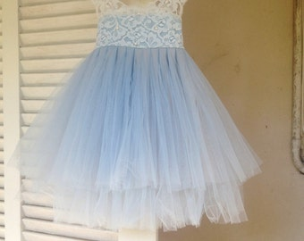 Magic Orchid Light blue Flower Girl Dress French lace and tulle dress for baby girl Flower girl dress blue princess dress tutu dress