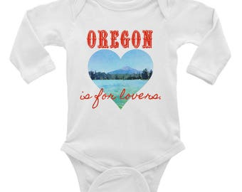 Oregon is for lovers, Valentine's Day, heart, mountain, lake, trees, watercolor, Infant Long Sleeve Bodysuit