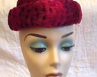Vintage 1940s Feather Bowler Tilt Hat Hot Pink Feathers Ladies Hat Retro Magenta Montaldos Designer Hat