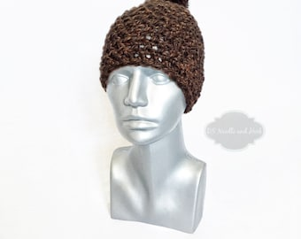 Brown Chunky Beanie with Pom, Brown Crochet Hat, Winter Beanie with Puff, Chocolate Brown Knit Hat, Ski Cap