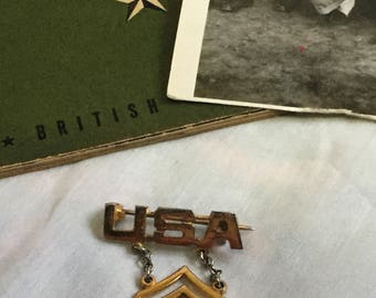 WWII US Army Sweetheart Brooch | 1940s Vintage Army Technician T/5 Pin | Homefront Jewelry