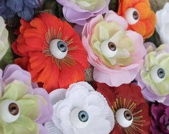 Eyeball flower clips- Medium roses etc; For hair or clothing