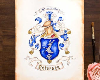 "Custom Family Crest - Hand Drawn Heraldry from existing illustration or research -  11"" by 14"" - coat of arms art for a unique gift"