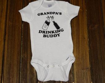 Grandpas Drinking Buddy Baby Bodysuit Baby  Baby Shower Gift Nursery Custom Clothing Infant {K94}