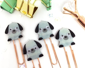 Planner Paper Clips Set of 4 - Puppy Dog Rose Gold Planner Paper Accessories with Moving Eyes