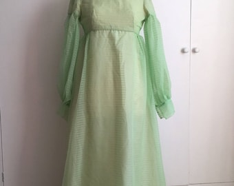 Vintage 1960s light green chiffon maxi gown by Emma Domb S