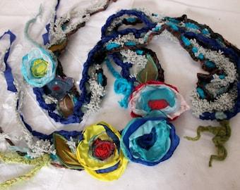 Gypsy Scarf, Boho Scarf, Gypsy Crochet Scarf, Hippie Scarf Crochet Scarf, Scarf With, Valentine's, Gypsy Love, Unique items, Colorful Flower