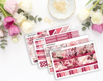 May Monthly Kit Floral Photography Stickers for Planner