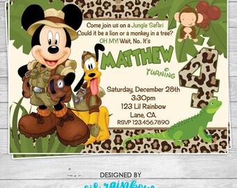 659: DIY - Mickey Mouse Jungle Safari Party Invitation Or Thank You Card