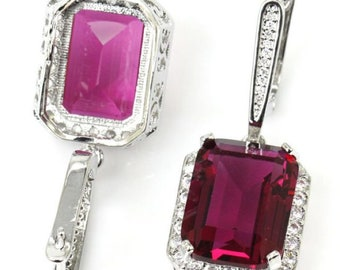 Sterling Silver Pink Tourmaline Gemstone Earrings & AAA CZ Accents