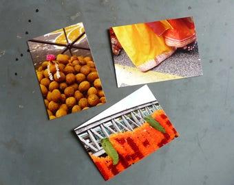 Three photo celebration of Ganesh, Paris postcards