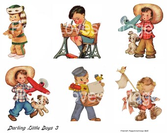 Darling Little Boys 3 Digital Collage from Vintage Greeting Cards  - Cut Outs - Instant Download