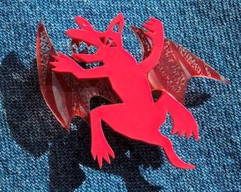 Staffy Bat pin brooch in shrink plastic