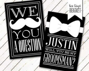 We Mustache You a Question - Will You be My Groomsman / Best Man - Digital Download - Wedding Stationary - Printable Wedding - Custom Color